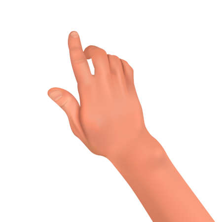 Realistic human hand on a white isolated background. Finger gesture in the form of touching, pressing, pointing. Element for design. 3D vector illustration. Illustration