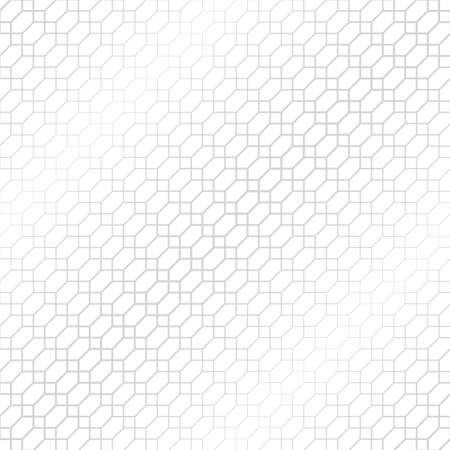 Vector seamless pattern. Abstract halftone background. Modern stylish texture. Repeating intersecting hexagons, rhombuses with decreasing contour thickness. Gradation from bigger to smaller. Banque d'images - 150661919