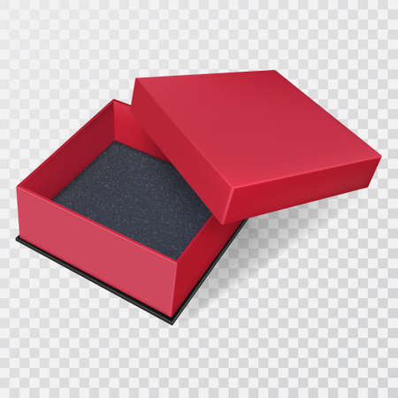 Open red gift box on an isolated transparent background.Container with an open lid.3D.Template for design.Realistic vector illustration.