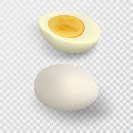 Half boiled egg. Raw whole egg. 3D objects on an isolated transparent background.Realistic vector illustration. Illustration