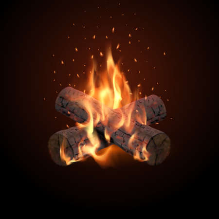 A bonfire with flying sparks on a dark background. Burning Wood.3D.Realistic vector illustration.
