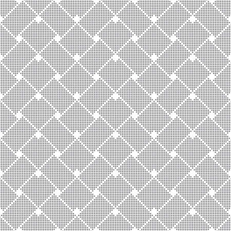 Seamless pattern. Abstract small textured background. Modern stylish texture with small dots. Regularly repeating geometrical ornament with dotted rhombuses, rectangles, corner shapes. Vector design