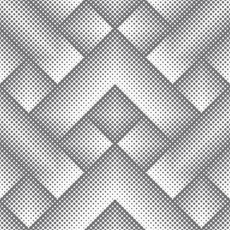 Vector seamless pattern. Infinitely repeating stylish modern texture consisting of dots of the different size which form geometrcial tiles with dotted zigzag shapes with halftone effect.