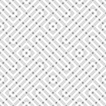 Seamless pattern. Infinitely repeating modern stylish texture consisting of thin lines and dots which form cross and rhombus shapes. Vector element of graphical design 스톡 콘텐츠 - 152359615