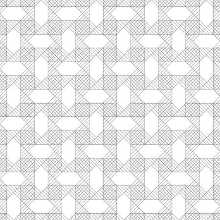Infinitely repeating modern geometrical texture consisting of intersecting thin lines which form hexagonal linear background with hexagons, squares, rhombus, triangles. Illustration