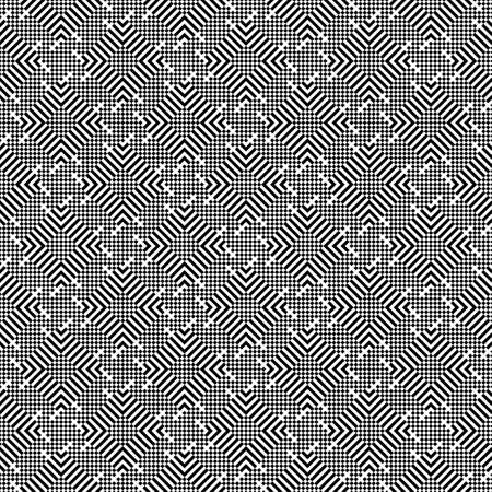 Regularly repeating modern geometrical texture consisting of small rhombuses, strips. Graphic design element. Black white. Illustration