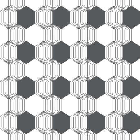 Abstract textured background. Modern trendy texture with regularly repeating striped hexagons located in zigzag form. Contemporary design
