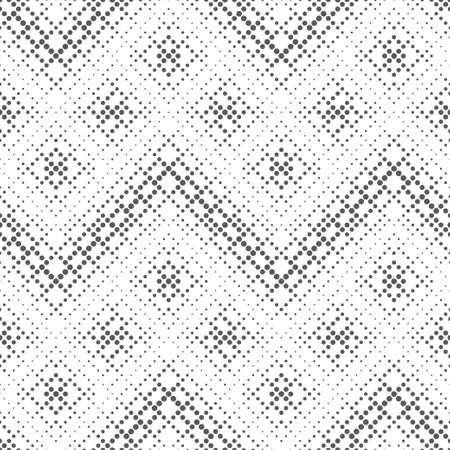 Infinitely repeating stylish modern texture consisting of dots of the different size which form geometrical tiles with dotted rhombuses, zigzags with halftone effect.