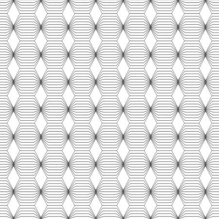 Vector seamless pattern. Infinitely repeating modern geometrical texture consisting of with striped hexagons and rhombuses.