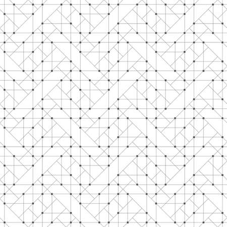 Seamless pattern. Abstract geometrical background. Original linear techno texture with repeating thin lines, dots, triangles, squares. Vector element of Business concept Illustration