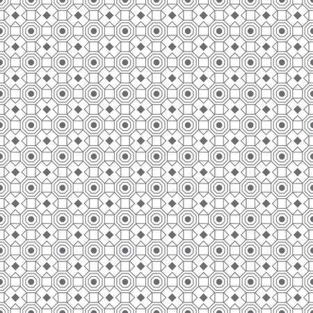 Vector seamless pattern. Infinitely repeating simple elegant texture consisting of outline hexagons, crosses, triangles, rhombuses, squares. Geometrical cover surface. Illustration