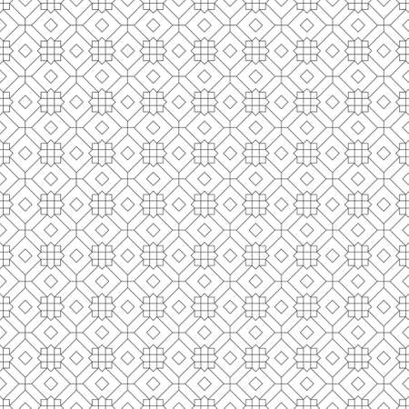 Vector seamless pattern. Geometrical modern linear texture. Regularly repeating classical tiles with outline rhombuses, diamonds, thin lines, squares, hexagons.