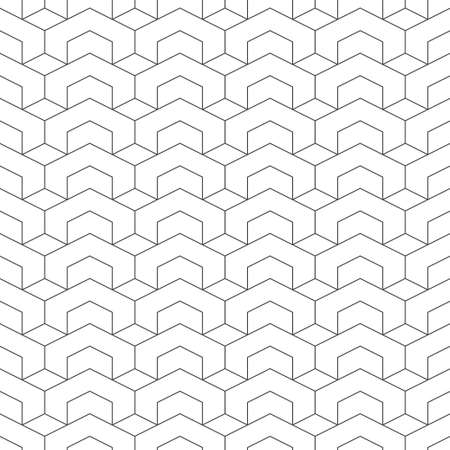 Seamless pattern. Modern stylish geometrical texture. Regularly repeating hexagons, rhombuses, hexagonal shapes. Abstract linear textured background. Vector element of graphical design