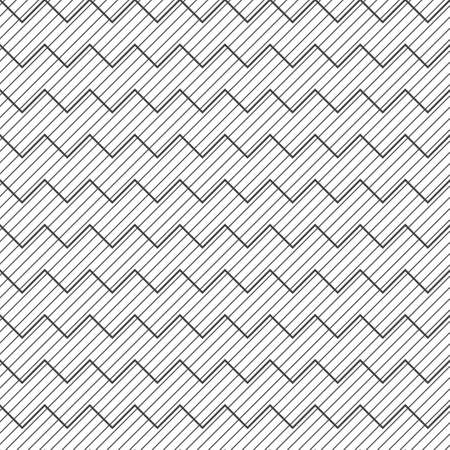 Seamless pattern. Abstract linear textured background. Modern stylish geometrical texture. Regularly repeating zigzag thin lines. Corner strips. Vector element of graphical design Illustration