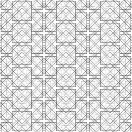Seamless pattern. Modern stylish texture. Regularly repeating geometrical shapes, zigzag forms, rhombuses, diamonds, corners. Thin line. Linear maze, labyrinth. Vector element of graphical design