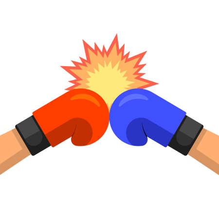 Two hands in boxing gloves.Red versus blue.Confrontation.Fighting emblem.Vector illustration in a flat style. 矢量图像