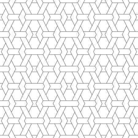 Vector seamless pattern. Abstract textured background. Modern stylish geometrical texture. Regularly repeating intersecting outline shapes, hexagons.