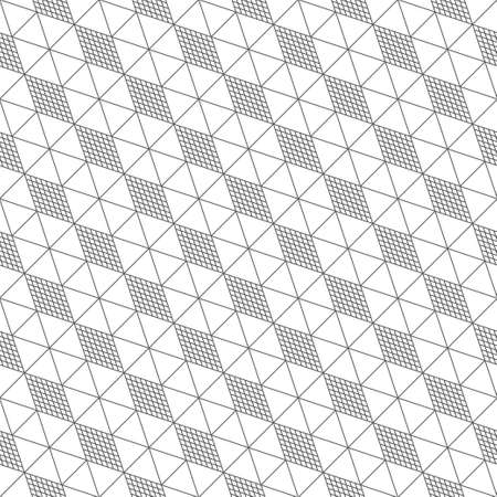 Vector seamless pattern. Modern stylish diagonal texture with regularly repeating linear hexagons, triangles, striped rhombuses, diamonds.