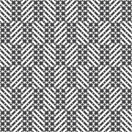 Vector seamless pattern. Infinitely repeating modern geometrical texture consisting of stars, rhombuses, diamonds, triangles, strips. Abstract small textured background. Vectores