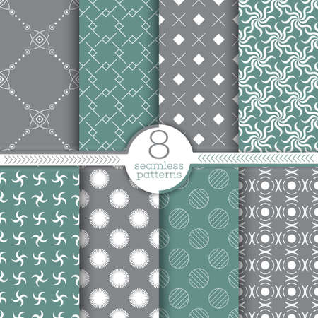 Set of seamless patterns. Modern simple textures. Regularly repeating geometrical ornaments with thin lines, grids, rhombuses, zigzags, crosses, stars, dots, arcs, circles, swirls. Vector element of graphical design Vectores