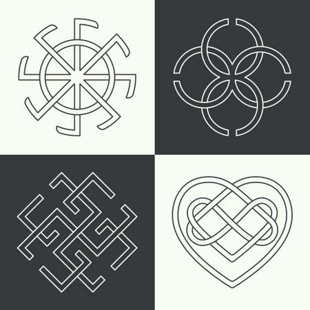 Set of the ancient symbols executed in linear style. Ancient signs, knots and weaves. Concept of secret and origin of mankind. The mascots and charms executed in the form of logos. Magic signs.Editable path. Vector illustration.