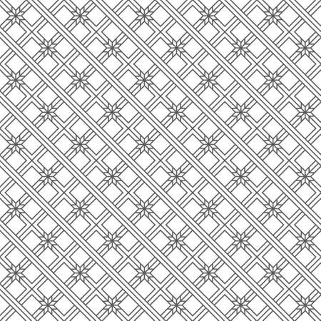 Vector seamless pattern. Modern regularly repeating geometrical texture with thin lines which form stylish ornament. Intersecting strips. Rhombus grid, triangles, squares. Ilustração