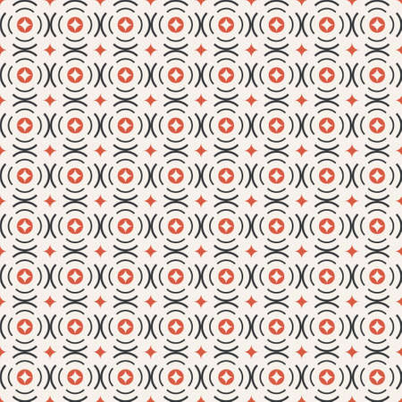 Seamless pattern. Repeating modern geometrical texture consisting of circles, arcs, rhombuses, diamonds, round elements. Circular. Vector element of graphical design