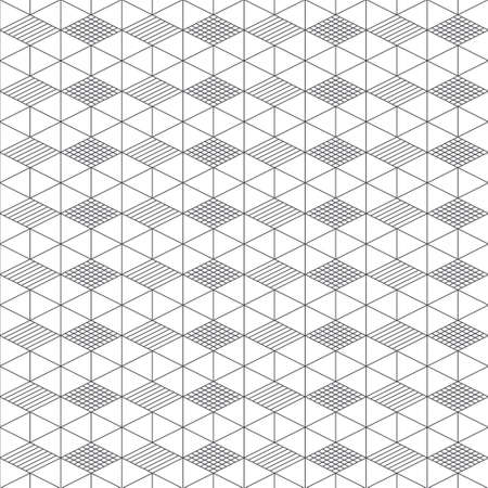 Seamless pattern. Regularly repeating modern geometrical texture consisting of linear hexagons, cubes, triangles, rhombuses. Thin line. Vector element of graphical design