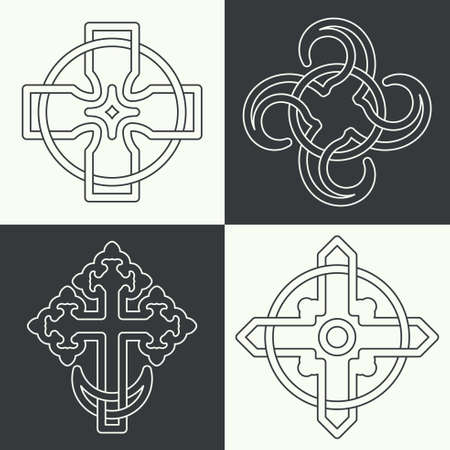 A set of ancient crosses made in a linear style. Ancient signs, knots and weaves. Religion of mankind. Concept of secret and origin of mankind. The mascots and charms executed in the form of logos. Magic signs.Editable path. Vector illustration.