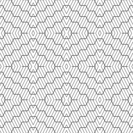 Seamless pattern. Modern stylish texture with intersecting thin lines. Regularly repeating geometrical tiled grid with rhombuses, diamonds, hexagons, curved linear shapes. Vector element of graphical design
