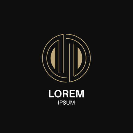 Logo with letters DD.Business sign in geometric linear style. Gold lettering symbol. Editable path. Vector illustration.