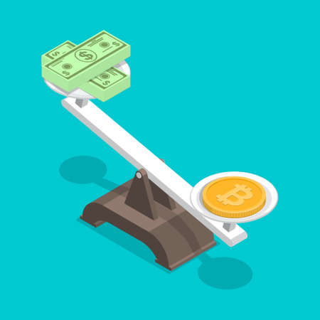 A coin with a bitcoin symbol outweighs dollar bills.Overweight cryptocurrency. Business concept.Exchange rate.3D. Isometry. Elements for design. A vector illustration in flat style. 일러스트