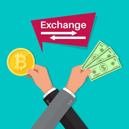 Exchange of cryptocurrency bitcoin for cash dollar. Bank operations. Business concept.Banner.Vector illustration in a flat style.