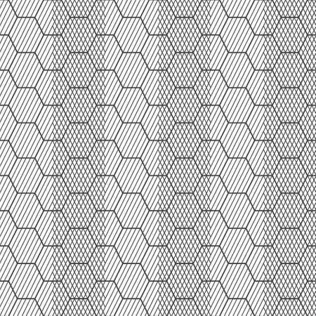 Seamless pattern. Modern stylish geometrical texture. Regularly repeating striped hexagons, rhombus, diamond. Abstract linear textured background. Outline. Contour. Thin line. Vector element of graphical design