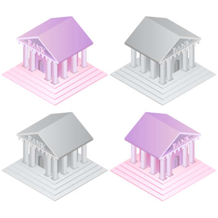 Bank icons set.In monochrome and color.Business concept.Isometry.3D.Vector illustration in a flat style. 일러스트