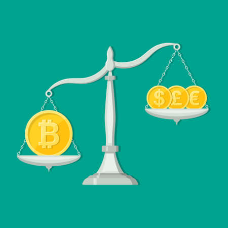 The coin with the bitcoin symbol outweighs other currencies.Overweight cryptocurrency. Business concept.Exchange rate. A vector illustration in flat style. 일러스트