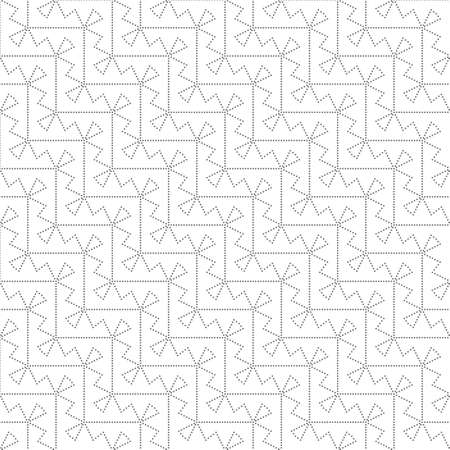 Seamless pattern. Modern stylish texture. Regularly repeating geometrical zigzag shapes with small dots, dotted lines, triangles. Vector element of graphical design