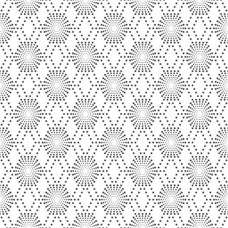 Seamless pattern.Modern stylish texture with regularly repeating geometrical shapes, small dots, dotted hexagons, rhombuses, diamonds. Vector element of graphical design