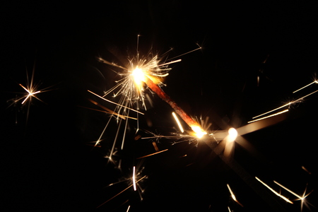 artifice: lights fireworks in the night Stock Photo