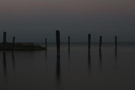 long lake: long exposure of Lake Garda Stock Photo