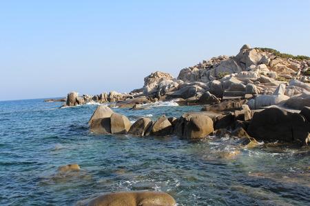 waves crashing: panoramic cliff with the waves crashing