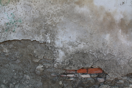 Two-colored concrete wall texture with red bricks 版權商用圖片