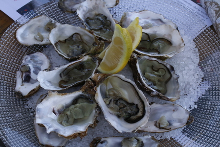 oysters with lemon Stockfoto