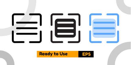 scan document icon with three style for social media, website, and presentation Ilustración de vector