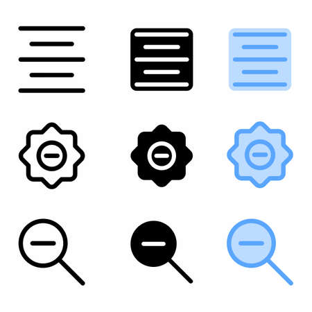 center align icon with three style for website and user interface