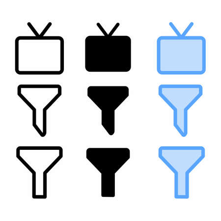 television icon with three style for website and user interface