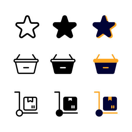 rate icon set with three style for presentation, poster, banner, and social media
