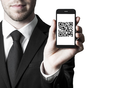 Man hold a phone with qr code photo