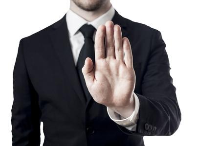 hand stop white