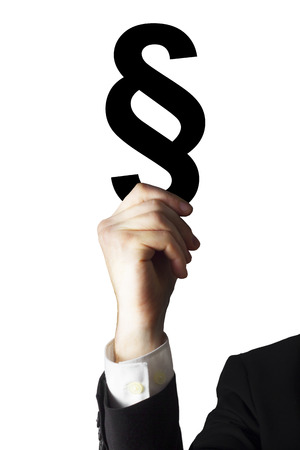 paragraph: businessman holding paragraph symbol Stock Photo